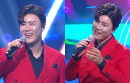'뮤직뱅크' 진해성, 강렬한 빨간 슈트 입고 '바람고개' 열창
